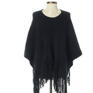 EXPRESS Black Cable Knit Poncho